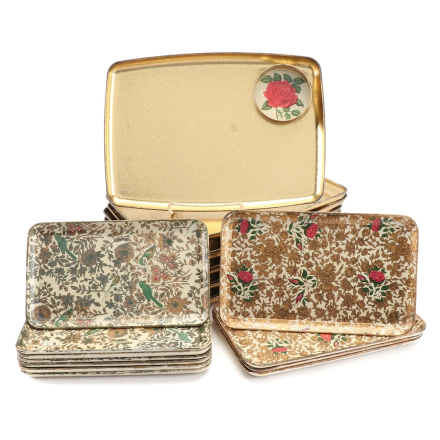 Set of Ten Serving Trays with Cup Holder and Decoupage Snack Trays