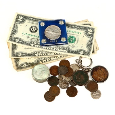 Assortment of Antique to Vintage U.S. Coins and Currency, Including Silver