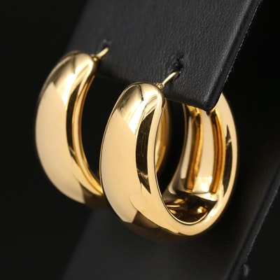 Milor 14K Yellow Gold Oval Electroform Hoop Earrings