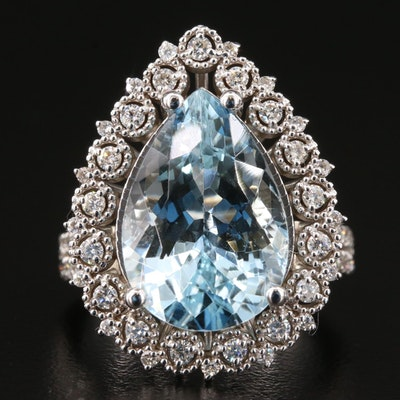 14K Gold 8.09 CT Aquamarine and Diamond Pointer Ring