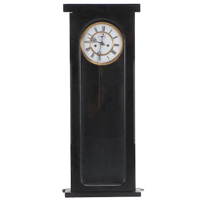 Glass Cased Brass and Enamel Faced Clock with Seconds Dial