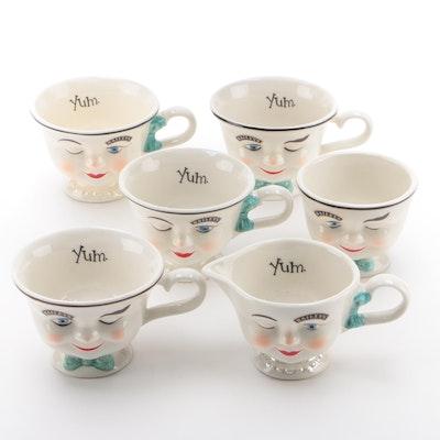 Bailey's Yum Face Ceramic Teacups and Creamer