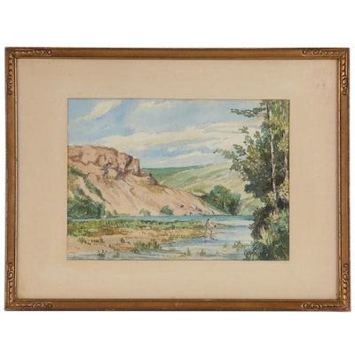 Landscape Watercolor Painting, Mid 20th Century