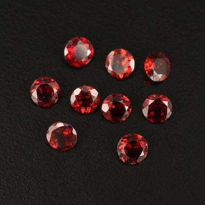 Loose Round Faceted 5.12 CTW Garnet Gemstones