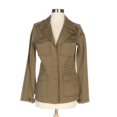 J. Peterman Olive Green Cotton Cargo Jacket