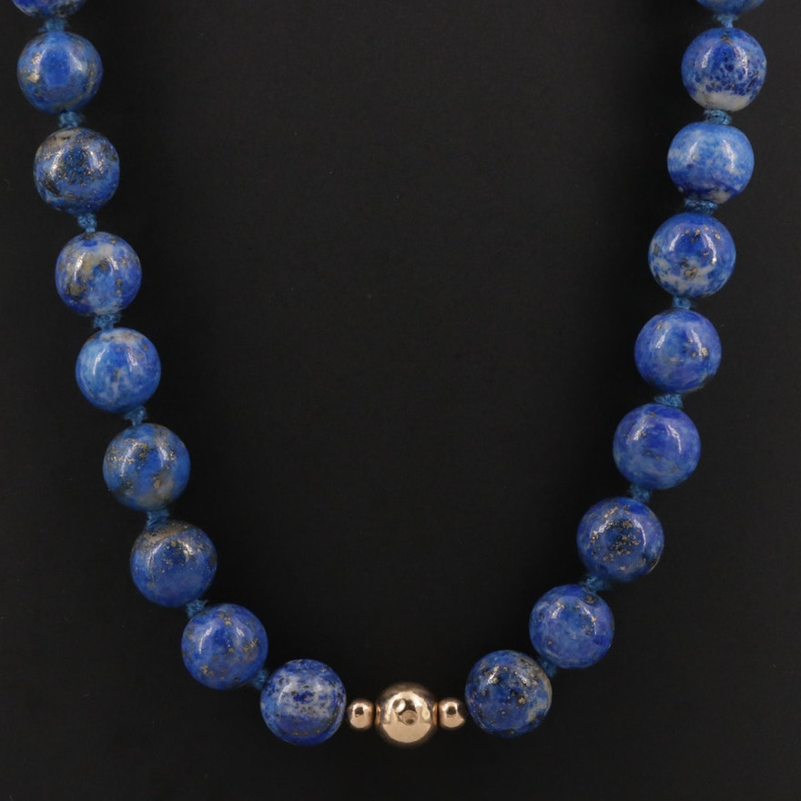 Beaded Lapis Lazuli Necklace With 14K Yellow Gold Stations