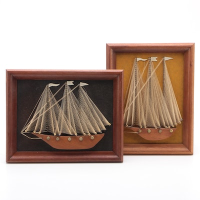 Hand Crafted String Art Sailboats, Mid 20th Century