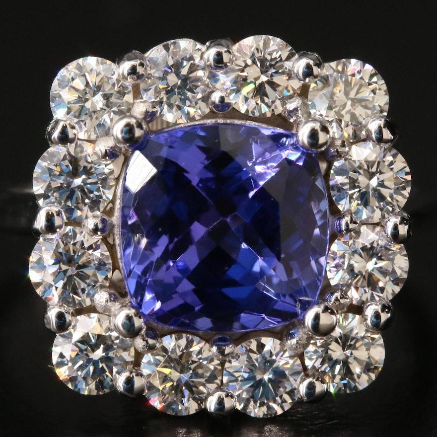 14K Gold 2.61 CT Tanzanite and 1.44 CTW Diamond Ring