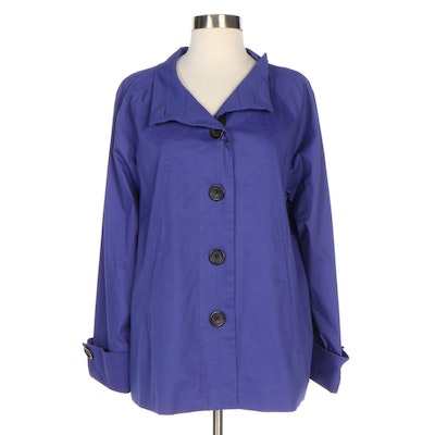 J. Peterman Design Sample Stand Collar Swing Jacket in Blue