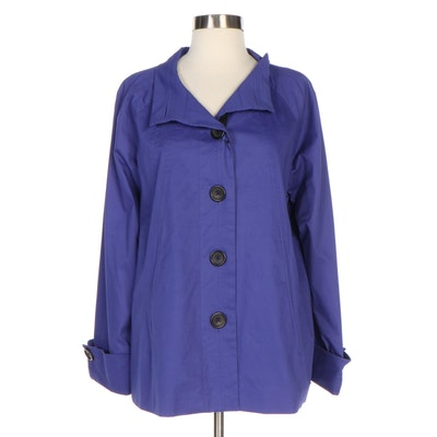 J. Peterman Design Sample Stand Collar Swing Jacket in Blue