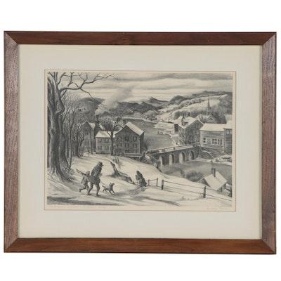 """Dudley Morris Lithograph """"The Bridge"""""""