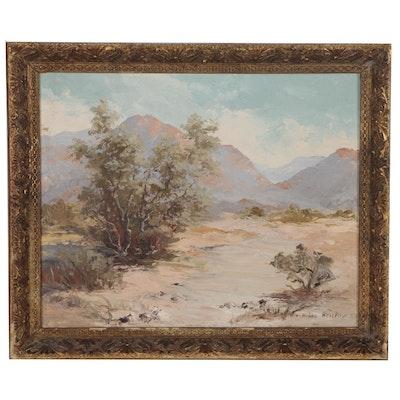 Hilda Bristow Desert Landscape Oil Painting