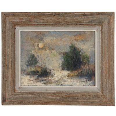 "Walter Greer Oil Painting ""Moonset"", 1962"