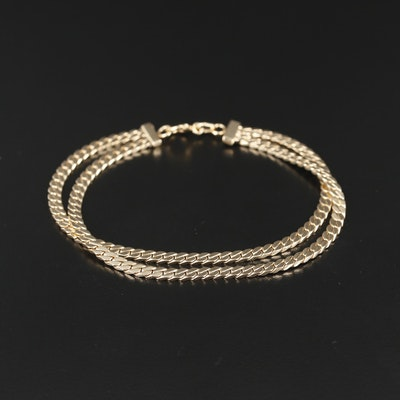 14K Gold Curb Chain Double Strand Bracelet
