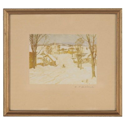 Offset Lithograph of Winter Landscape