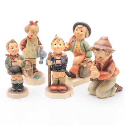"Goebel ""Boy With Basket"" and Other Porcelain Hummel Figurines"