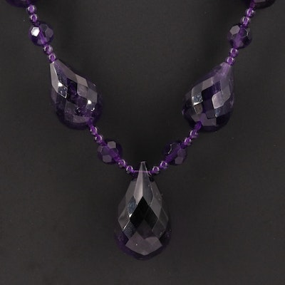 Faceted Amethyst Necklace with 14K Yellow Gold Clasp