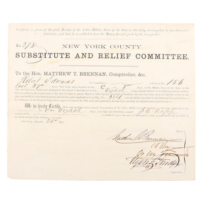 "1863 Civil War Draft Substitute Paperwork via ""Enrollment Act"", New York County"