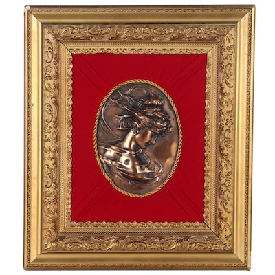 Cast Metal Bas Relief Classical Style Portrait of Woman in Profile