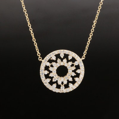 14K Yellow Gold 1.08 CTW Diamond Wagonwheel Pendant Necklace