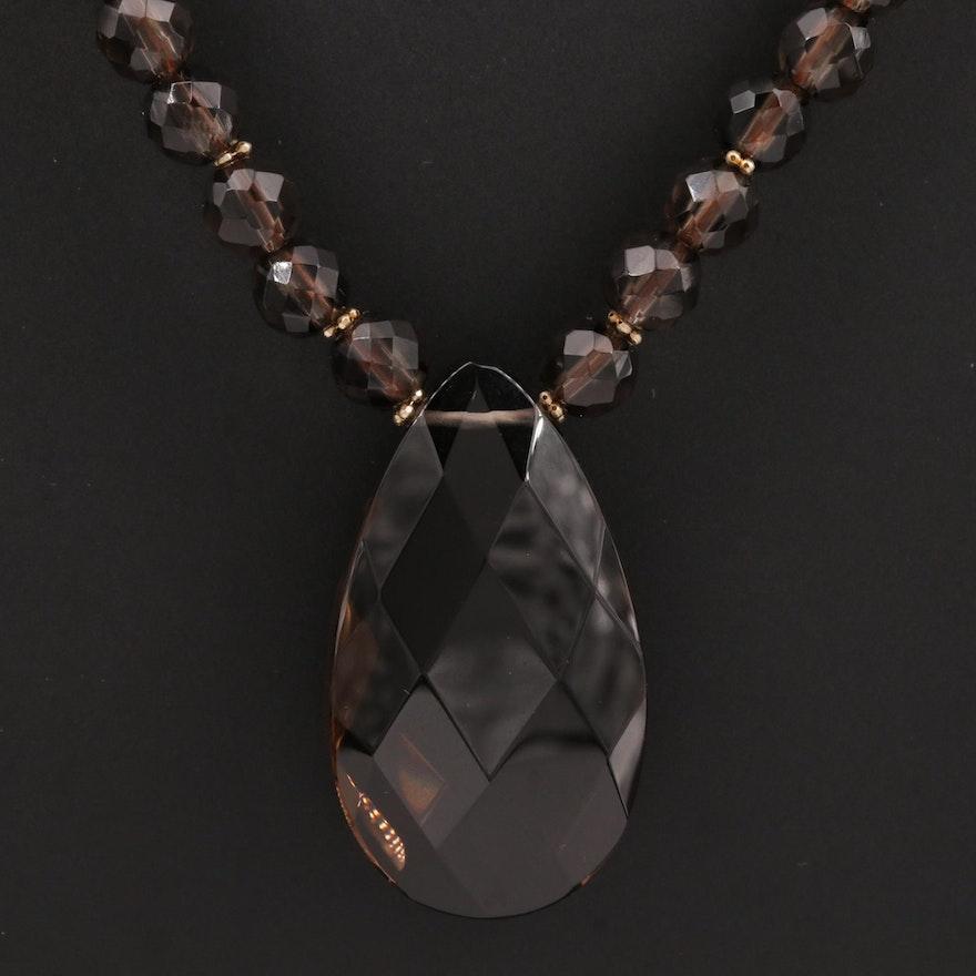 Smoky Quartz Beaded Drop Necklace with 14K Gold Clasp