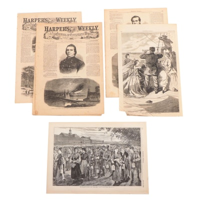 """""""Harper's Weekly"""" Single-Page Wood Engravings and More, 1860s"""