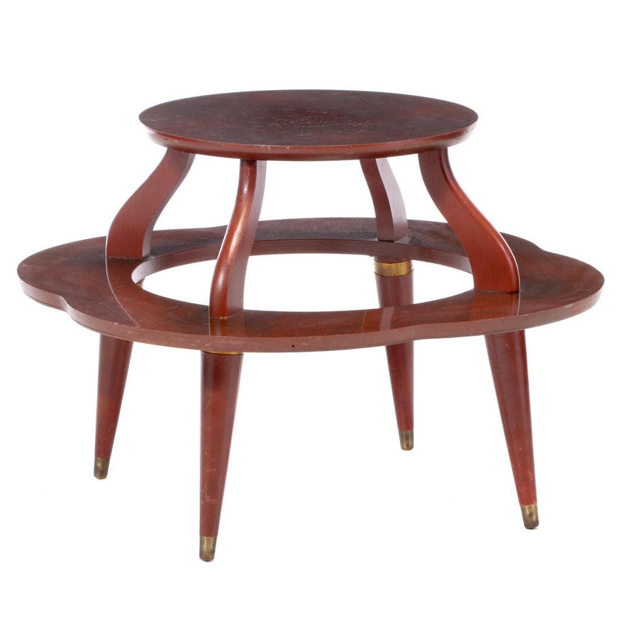 Mid Century Modern Mahogany Tiered and Lobed End Table, Circa 1960