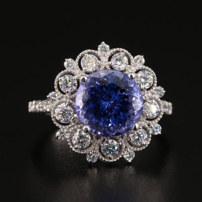 14K White Gold 3.73 CT Tanzanite and 0.83 CTW Diamond Ring