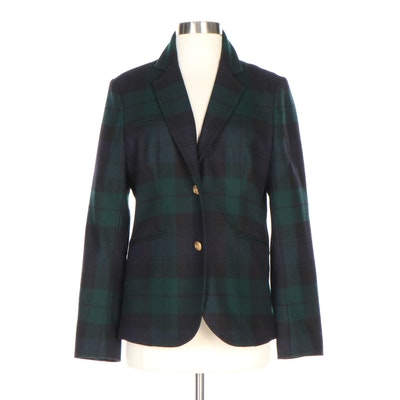 Blackwatch Plaid Wool Blazer with Gold Tone Anchor Buttons