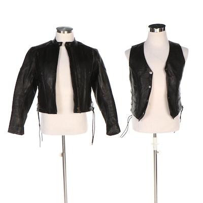 Women's Fox Creek Black Leather Motorcycle Jacket and Vest