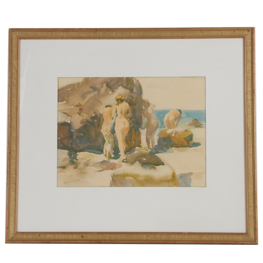 Offset Lithograph after Maurice Logan of Nudes on Beach