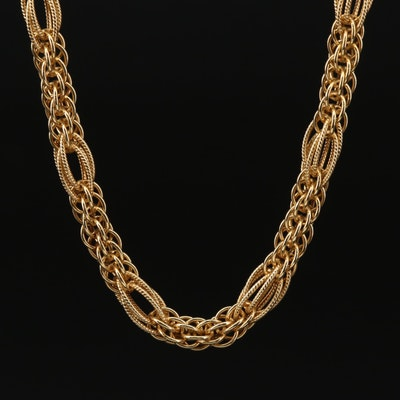 18K Yellow Gold Fancy Link Necklace