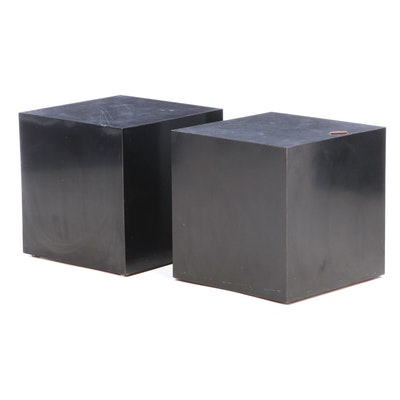 Mid Century Modern Cubed Black Laminate End Tables, Mid-20th Century