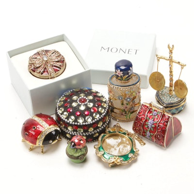 Lenox, Monet and Other Enamel and Rhinestone Trinket Boxes and Décor