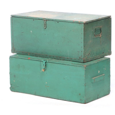 Painted Wood and Metal U.S. Army Trunks, Mid-20th Century