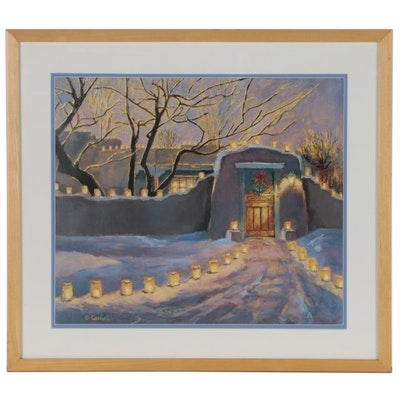 "Betty Carlson Offset Lithograph ""Farolitos on a Snowy Night"""