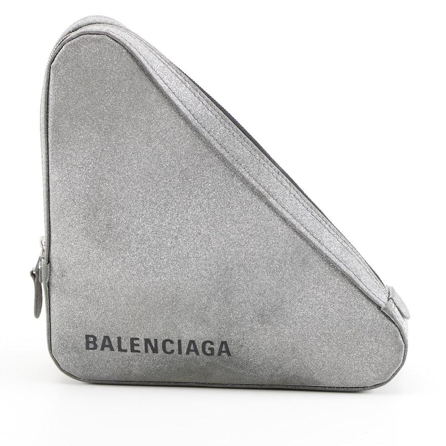 Balenciaga M Glitter Silver Leather Triangle Pouch