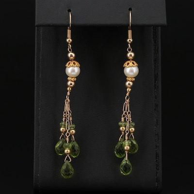 14K Yellow Gold Peridot and Cultured Pearl Dangle Earrings