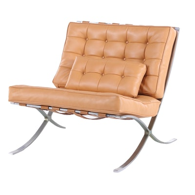 "Industria Argentina Modernist Chromed Steel ""Barcelona"" Lounge Chair"