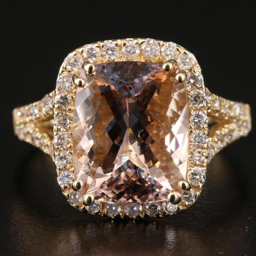 14K Gold Morganite and Diamond Ring