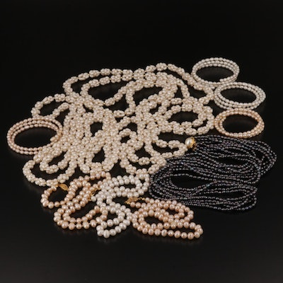 Pearl Memory Wire Bracelets and Necklaces