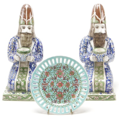 Pair of Persian Figural Ceramic Candleholders and Chinese Porcelain Plate