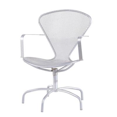 Mid Century Modern Italian EMU Metal Mesh Swivel Chair, 1970s