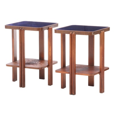 Art Deco Style Glass Top Birch End Tables, Mid 20th Century
