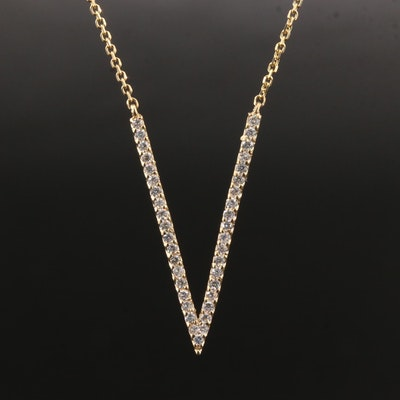 "14K Yellow Gold Diamond ""V"" Necklace"