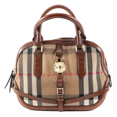 "Burberry Orchard Owl Two-Way Satchel in ""House Check"" Canvas and Leather"