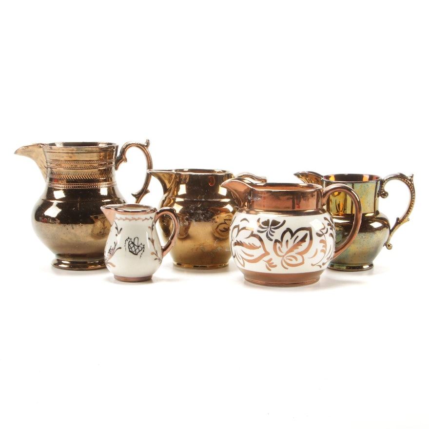 Wade Heath, Gray's Pottery and Other Copper Lusterware Pitchers