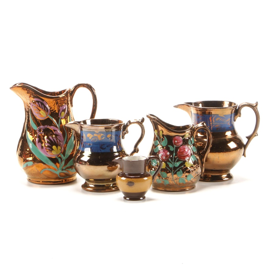 Hand-Painted Copper Luster Pitchers