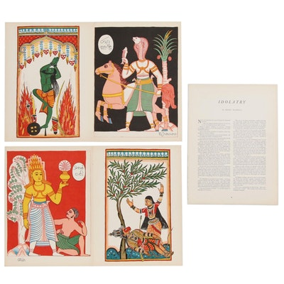 """Color Lithographic Reproductions of Hindu Deities for """"Verve"""", 1938"""