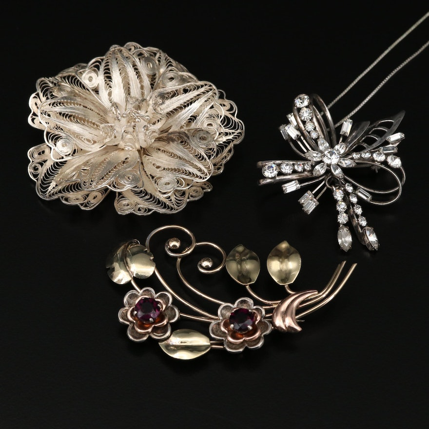 Rhinestone and Filigree Brooches Featuring Harry Iskin and Carl Art